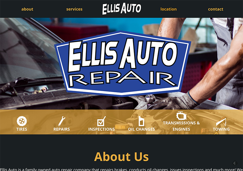 Ellis Auto needed a website that focused on the services they perform and the contact information their clients are looking for. One page art, I consider this.