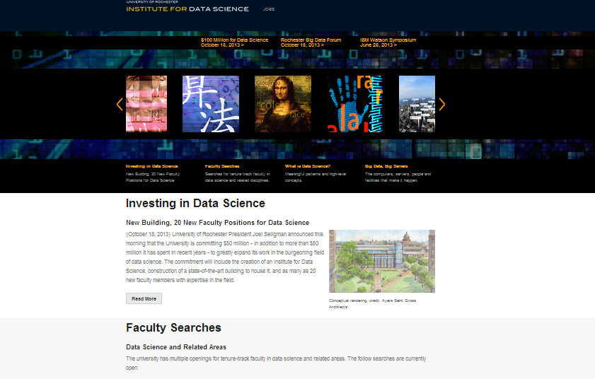 The University of Rochester's Data Science site. Responsive layout with Foundation 4, carousel and horizontal striped layout.