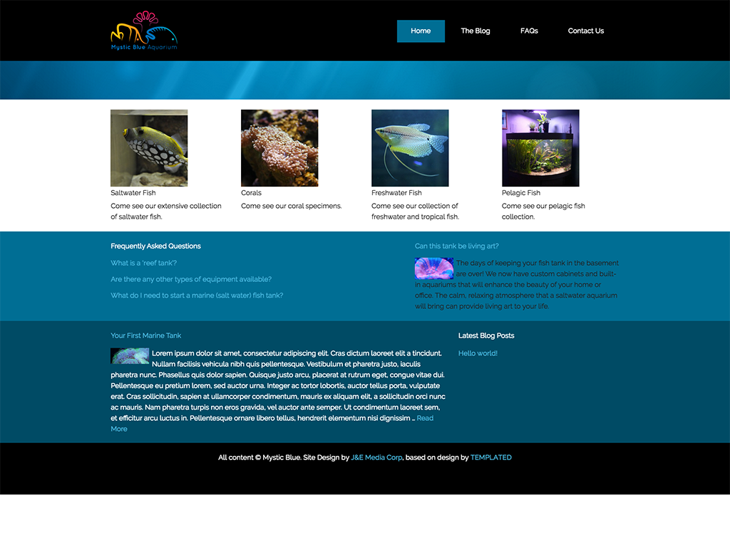 Mystic Blue is an aquarium shop in Tonawanda, NY that needed a new page for the launch of their store. This site focuses on informational posts, FAQs, and instructing his customers. With that, HN developed an FAQ custom post type and worked with Dave to develop good-quality posts.