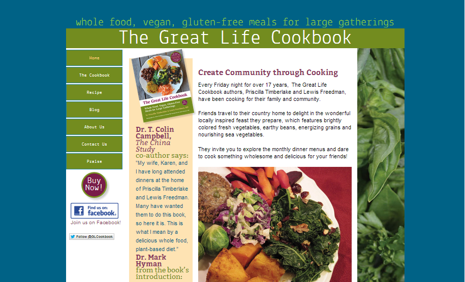The Great Life Cookbook. Site design based on a published book and originally laid out by that book's designer. My job was to convert this site into a Responsive Web Design site while maintaining the look-and-feel of the original site.