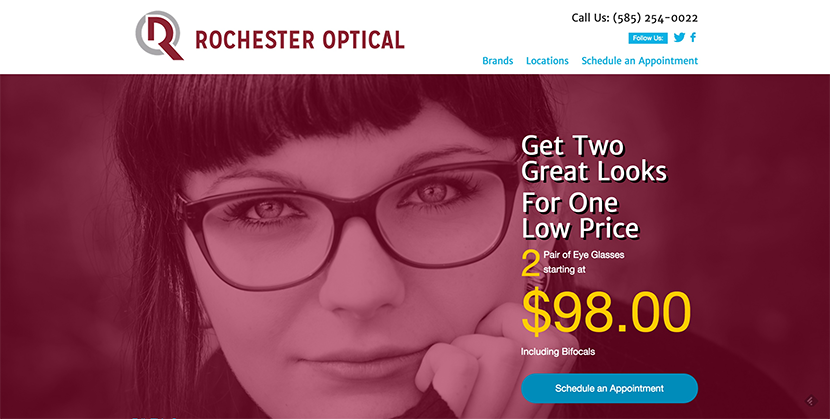 What Rochester Optical Stores needed was simplicity and effectiveness. We focused on a single-page design and horizontal striping, with a focus on the appointment booking form at it's bottom.