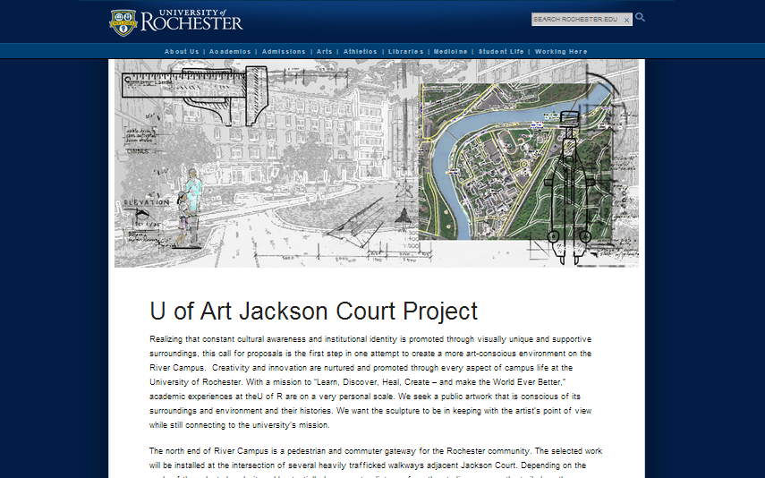 The University of Rochester Art History Department's Jackson Court commission application. CakePHP app allows for the collection, submission, rating, commenting and judging of PDF and image files.