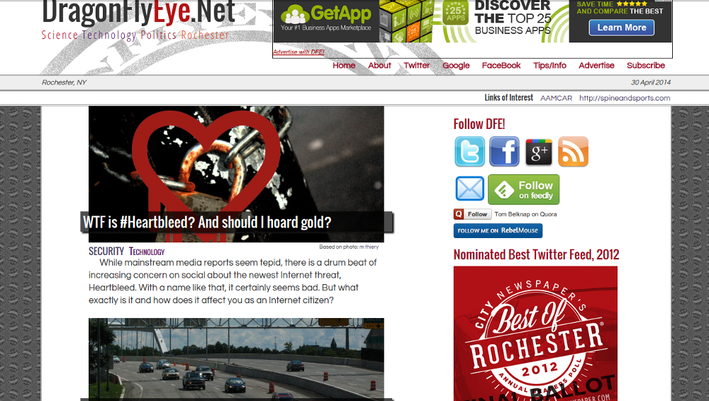 DragonFlyEye.Net. My personal WordPress driven news site with theme and plugins by myself.