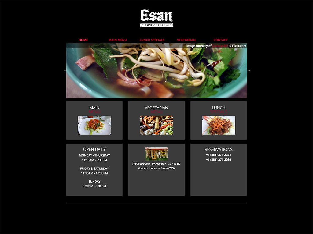 Esan Thai is a Park Avenue institution in Rochester, NY. They've had the same website for several years, but were looking to modernize. The site is basic black, to focus on the food.